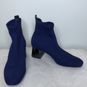 ZARA blue & black stripe Shiny block heel booties